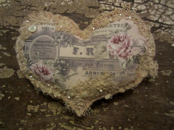 Medium Size Tattered Vintage Lace Keepsake Pincushion  French Roses