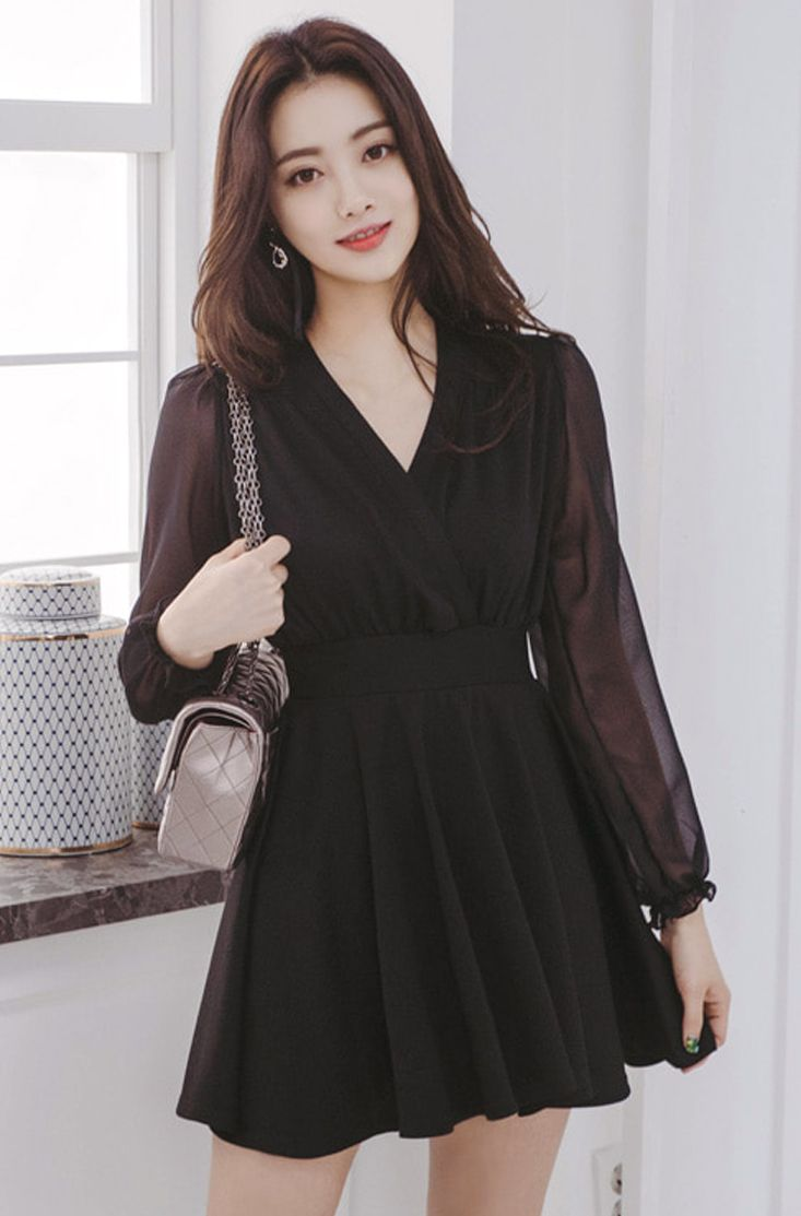 Sheer Sleeve Wrap Dress CHLO.D.MANON   #black #slimfit #dress #elegant #koreanfashion #kstyle #kfashion #springtrend #seoul #datelook