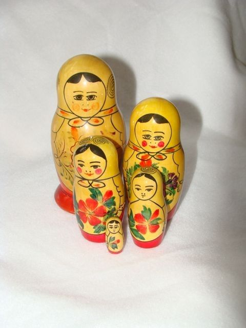 Vintage toy doll USSR set of 5 wooden Mother and 4 daughter nesting dolls Sale save 5.oo. $40.00, via Etsy.