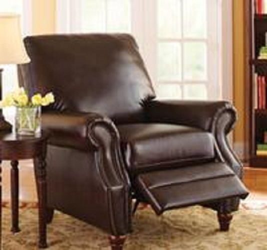 Leather Recliner Oversized Chair Ottoman Footrest Cushioned Modern Brown Faux FlashFurniture