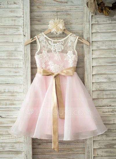 [US$ 68.59] A-Line/Princess Knee-length Flower Girl Dress - Organza/Lace Sleeveless Scoop Neck With Sash/V Back