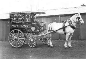 This photograph shows a horse and coach belonging to G. H. Tibb Bakery, Ascot Vale. Coach was built by Alf. A. Mitchell, Flemington Road, North Melbourne. Coach is outside stables, with two men seated inside. Written on the side of the coach is G.H. Tibb, Crescent Bakery, Ascot Vale,