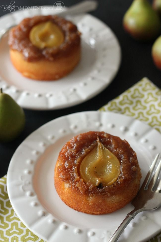 These pear and vanilla upside-down cakes are just right for a fall table. Substitute butter one for one with Mirage Margarine for a trans fat free, healthy alternative.