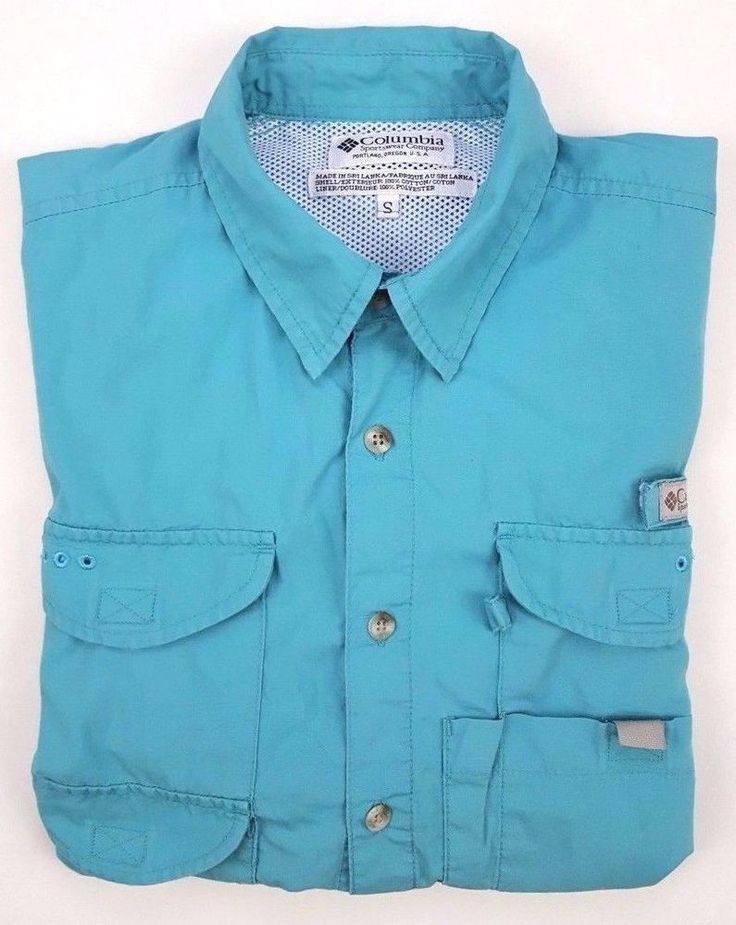 COLUMBIA Small PFG Shirt BLUE Mens FISHING Size COTTON Short SLEEVE Bonehead SZ* #Columbia #ButtonFrontShirt