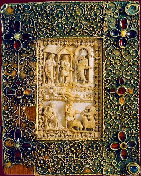 ;  Psautier de Charles le Chauve Reliure d'ivoire et d'orfèvrerie École du Palais de Charles le Chauve, copié par Liuthard avant 869 BnF, Manuscrits, Latin 1152 plat inférieur