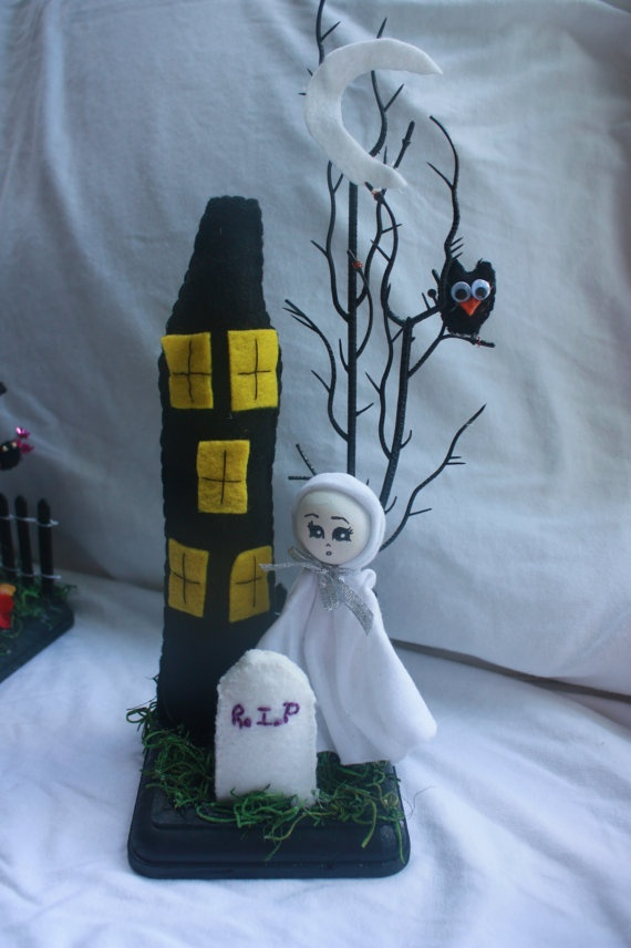 Halloween Ghost Decoration Clothespin Doll Clothespin and Peg