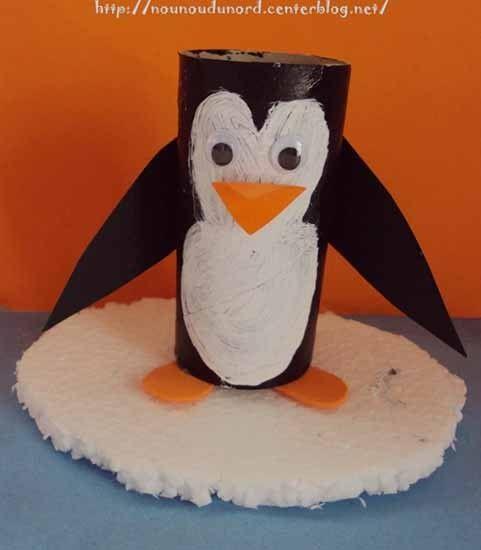 Pingouin réalisé par Lison avec un rouleau de papier wc, explications sur mon blog