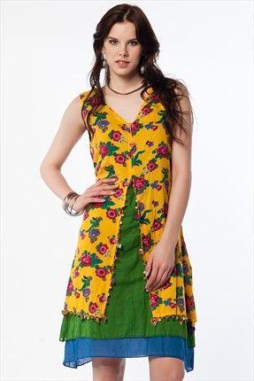 Etnik Seçimler - Hardal Elbise 1017422 %58 indirimle 79,99TL ile Trendyol da