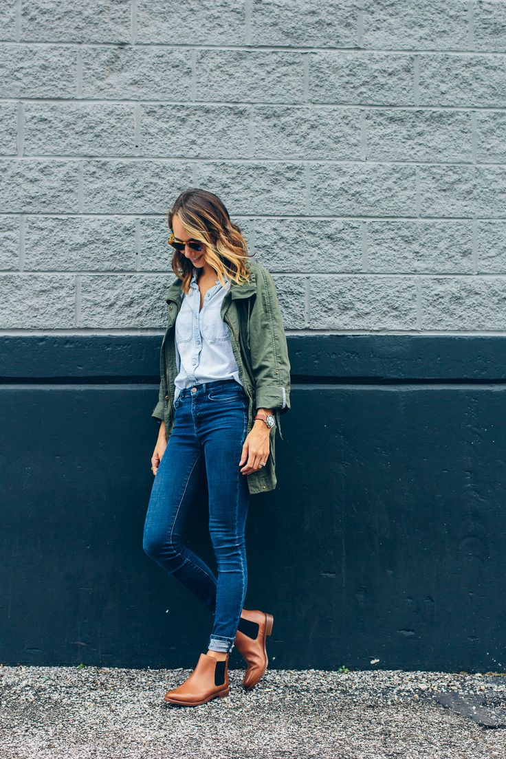 Anorak jacket + chambray button down + skinny jeans + brown ankle boots