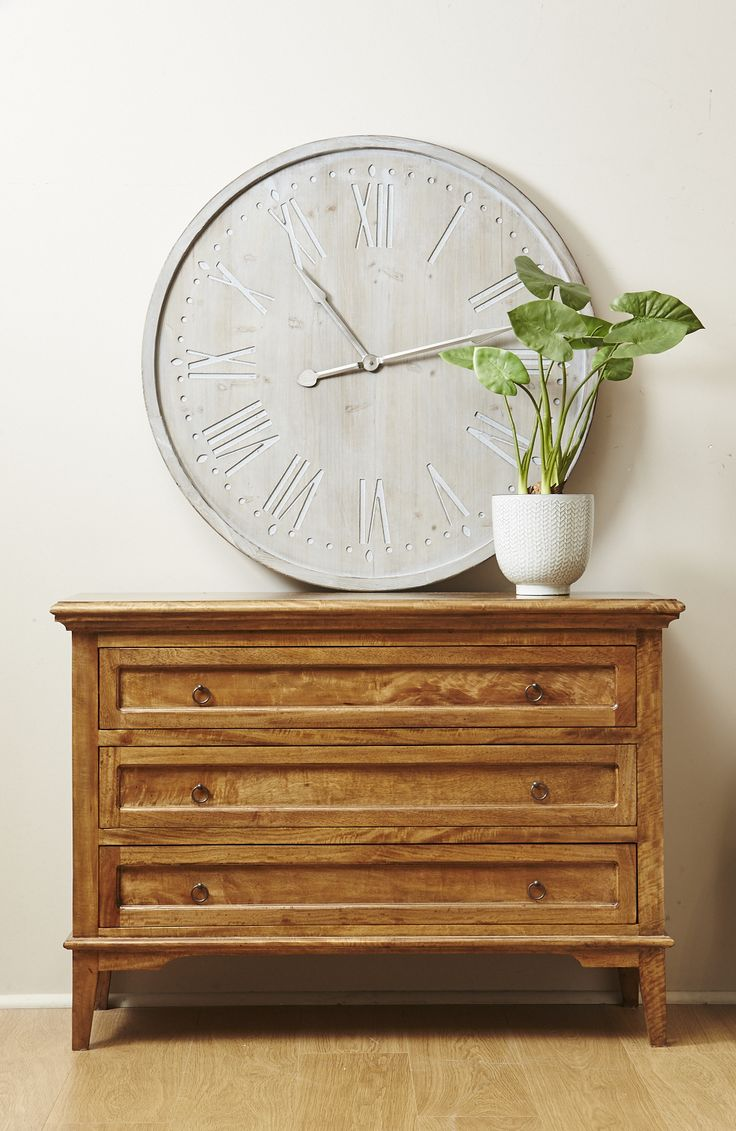 Riviera 3 drawer chest and clock. Available in store http://www.shack.com.au/contact-us
