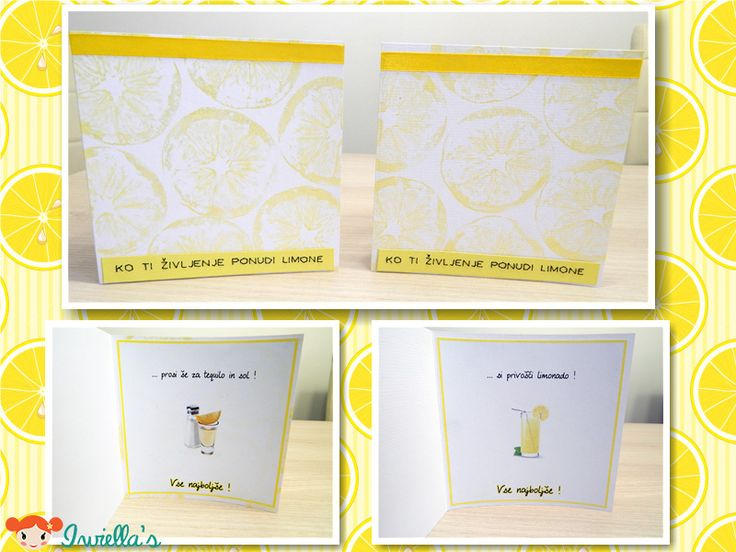 Birthday card using lemon as a stamp. Translated text: When life brings you lemons ... ... make some lemonade   OR ... ask for tequila and salt.