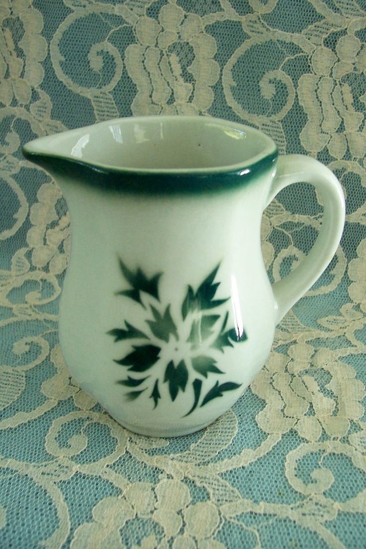 Arabia of Finland China Cream Pitcher Airbrush Green Floral Decoration