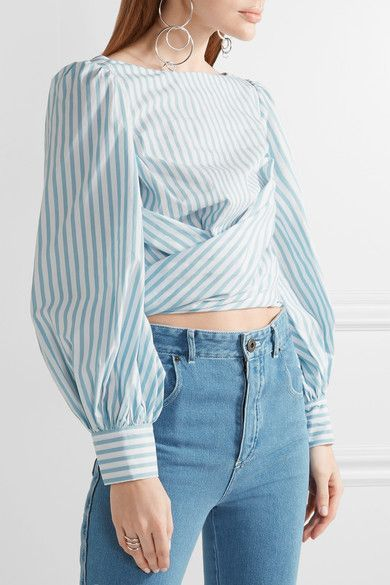 Johanna Ortiz | Bahia open-back striped cotton-poplin wrap top | NET-A-PORTER.COM