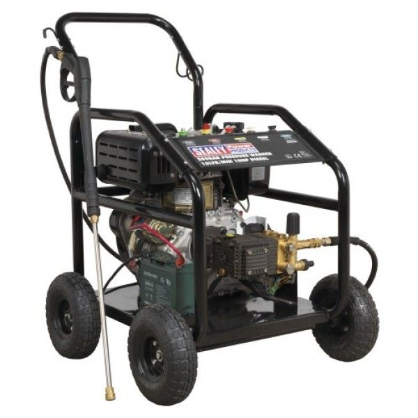 Diesel powered pressure washer with electric and recoil starting. Offers high pressure and high flow with diesel economy. Ideal for commercial applications with 5mtr pressure hose, 1mtr gun and lance and five interchangeable nozzles.