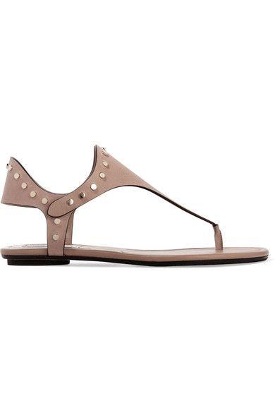 Jimmy Choo - Dara Studded Leather Sandals - Neutral - IT40.5