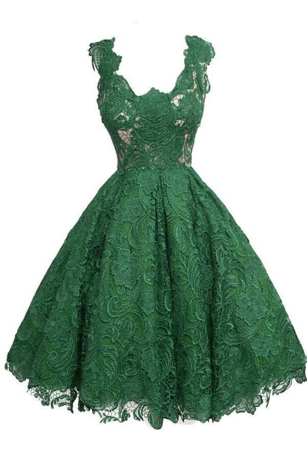 Vintage Scoop Knee-Length Sleeveless Hunter Lace Homecoming Dress