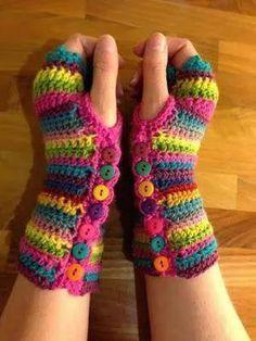 Mitones sin dedos, a colores