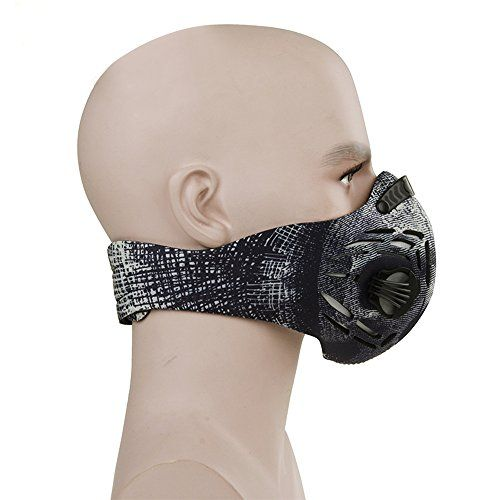 CFORWARD Dustproof Mask Activated Carbon Filtration Exhaust Gas Anti Pollen Allergy PM2.6 Face Mask for Running Cycling and Other Outdoor Activities(591BK)