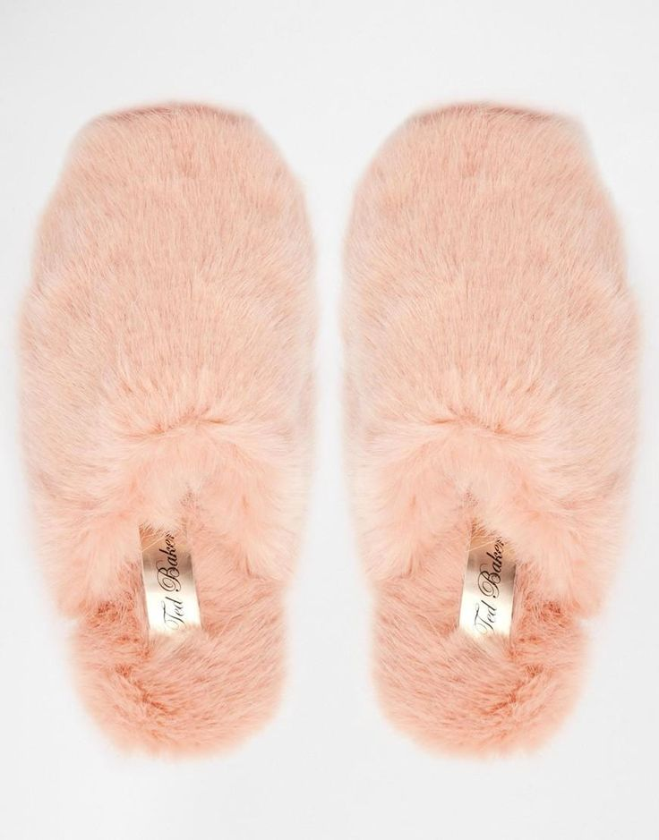 Pink | Ted Baker Breae Pink Faux Fur Slippers at ASOS