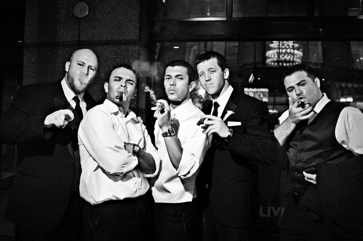 Awesome groomsmen wedding photo ideas - tough guys with cigars