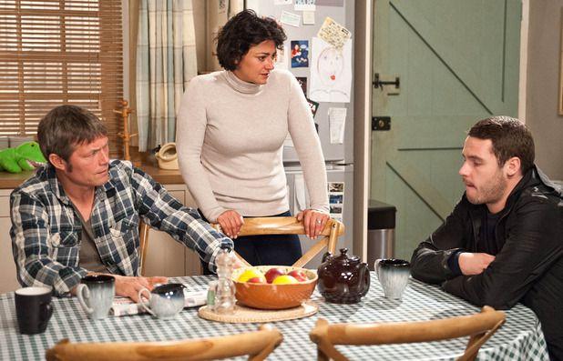 James Barton (Bill Ward), Moira Barton (Natalie J. Robb) & Aaron Livesy (Danny Miller) (September 2014)