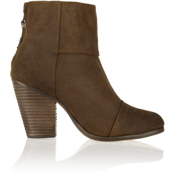 rag & bone - Classic Newbury Suede Ankle Boots ($248) ❤ liked on Polyvore featuring shoes, boots, ankle booties, brown, short brown boots, brown ankle boots, brown high heel boots, high heel boots and brown suede ankle booties