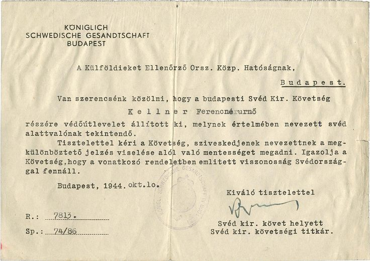 Swedish protective passport for Jewish woman in Budapest, signed by Swedish diplomat and businessman Raoul Wallenberg; October 10, 1944 | 8 Harrowing Documents That Reveal An Inside Look At World War II