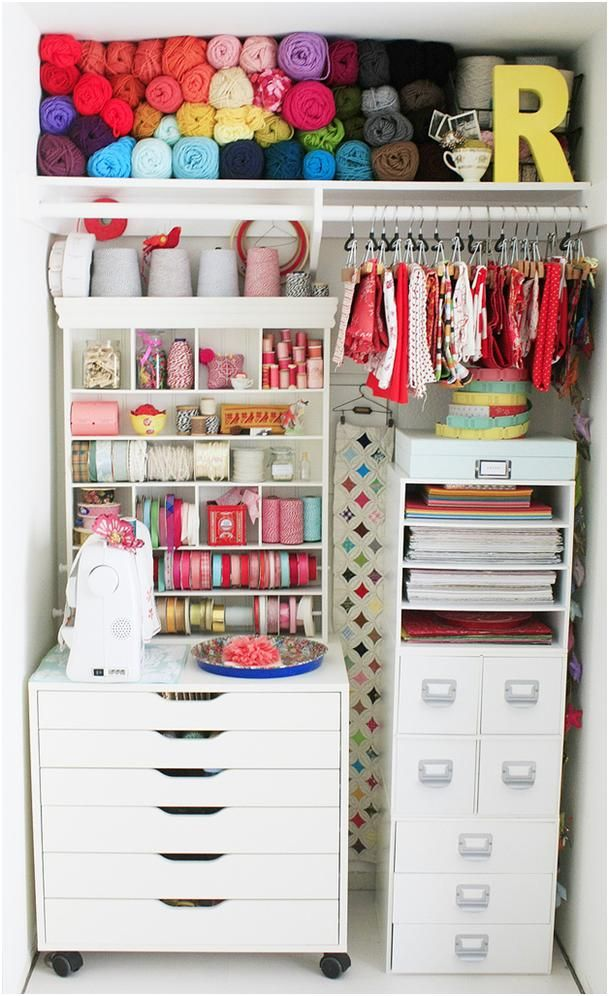 love this for sew storage and organization... especially for fabric hanging on clothes hangers