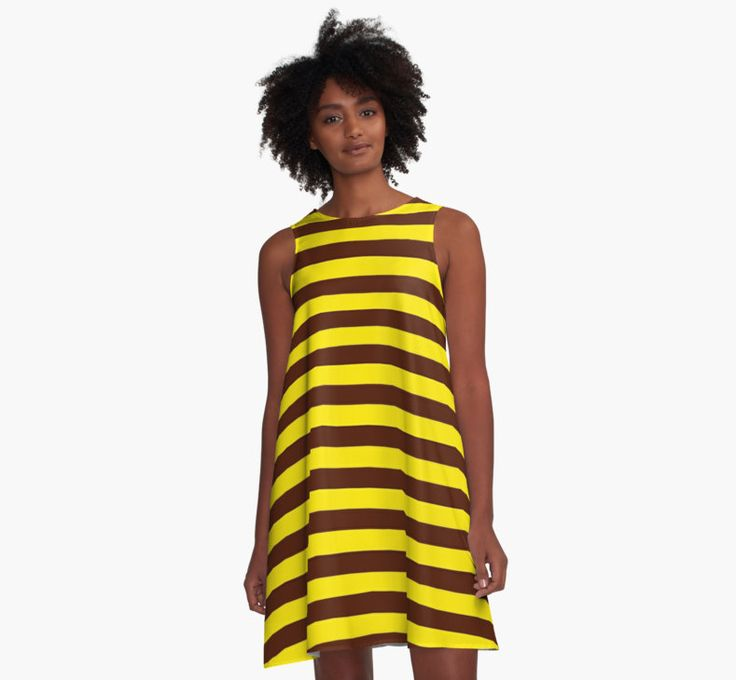 Bee stripes pattern, yellow, brown, black lines by cool-shirts
