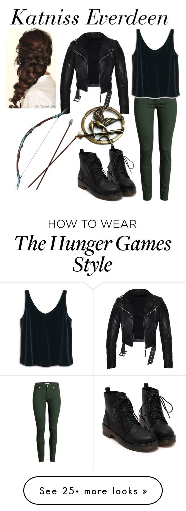 """""""Movies: Katniss Everdeen"""" by samantha-3112 on Polyvore featuring H&M, MANGO, Disney, Hungergames and katniss"""