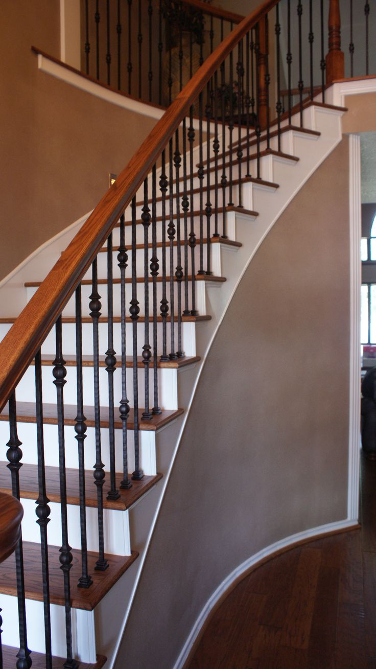 Wood Iron Railings : The best images about iron stair rails on pinterest