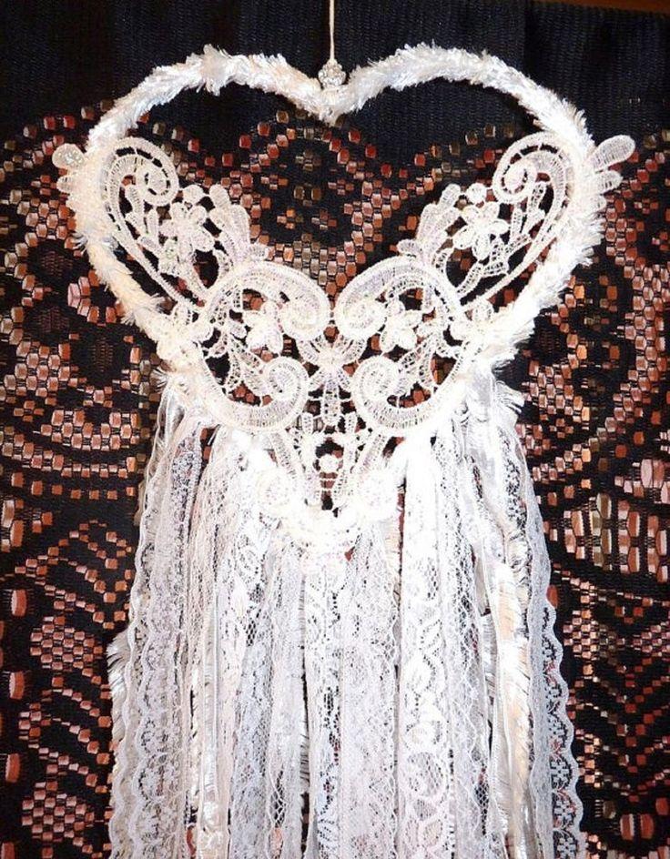 HANDMADE GORGEOUS WHITE HEART BRIDAL WEDDING GLITTER LOVE BOHO DREAM CATCHER