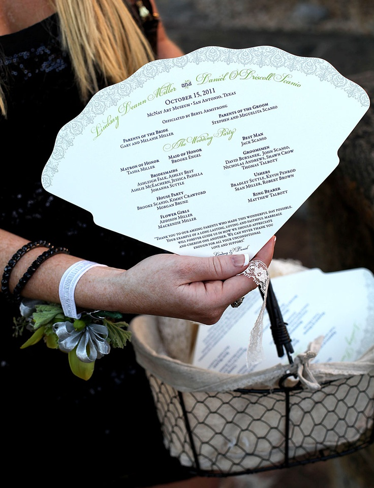 Wedding Program Fan by Southern Fried Paper  Love this for an outdoor wedding in the warmer months!!!