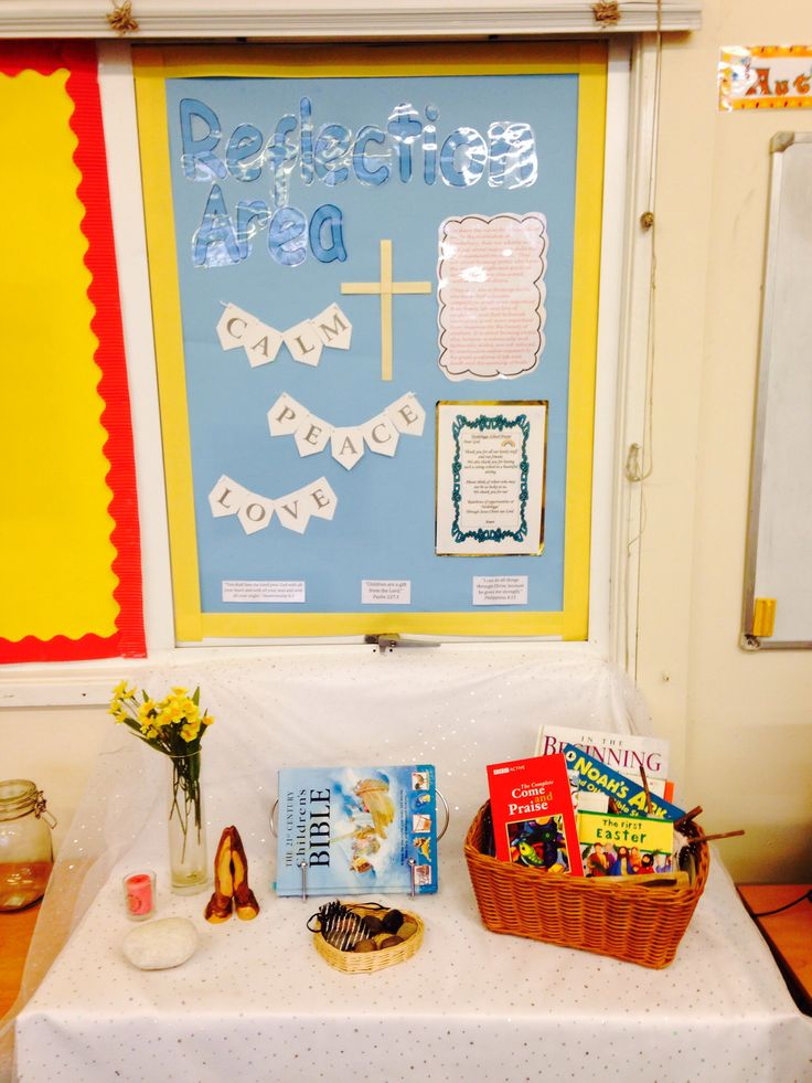 Classroom Worship Ideas ~ Reflection area with school s ethos prayer displayed