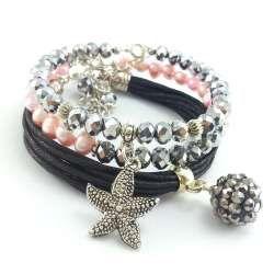 Komplet srebrnych, kryształowych bransoletek z różową perła słodkowodną i czarnym sznurkiem.