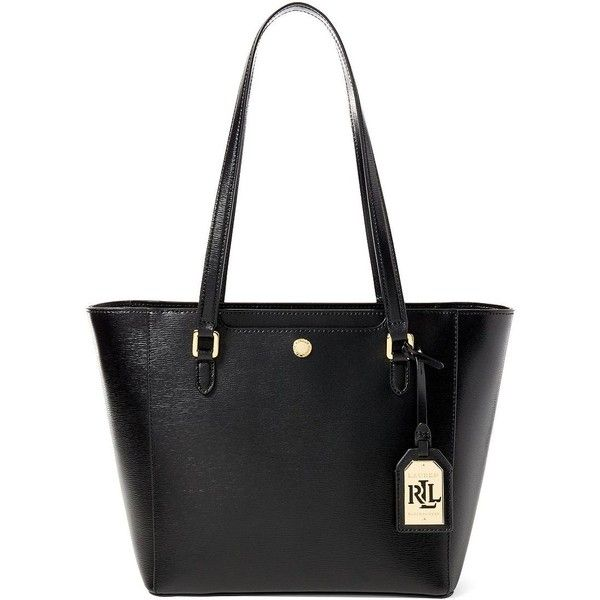 Lauren Ralph Lauren Halee II Saffiano Shopper Bag ($168) ❤ liked on Polyvore featuring bags, handbags, tote bags, black, lauren ralph lauren tote, lauren ralph lauren handbags, shopping tote, leather tote and genuine leather tote bags