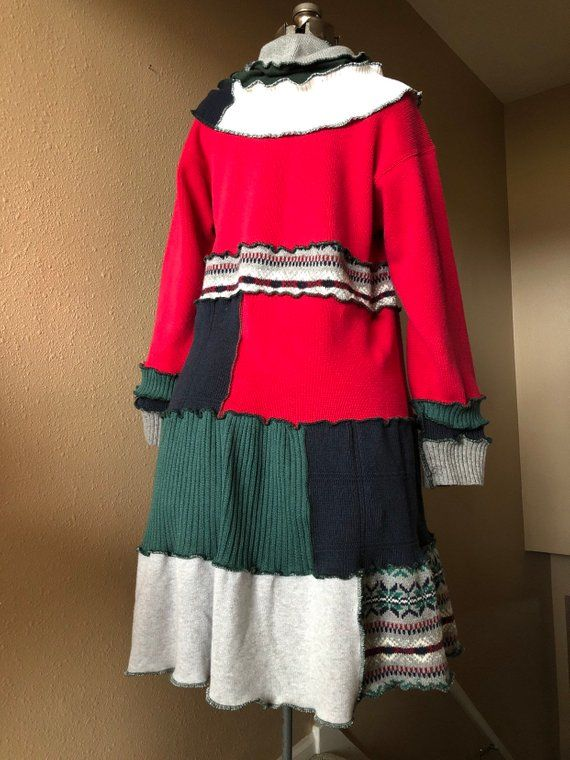 526bf4521f3 Upcycled Oversized Patchwork Sweater Dress Tunic Refashioned
