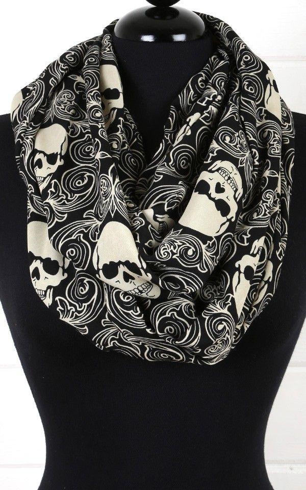 Skull Design Infinity Scarf BLACK http://www.skullclothing.net