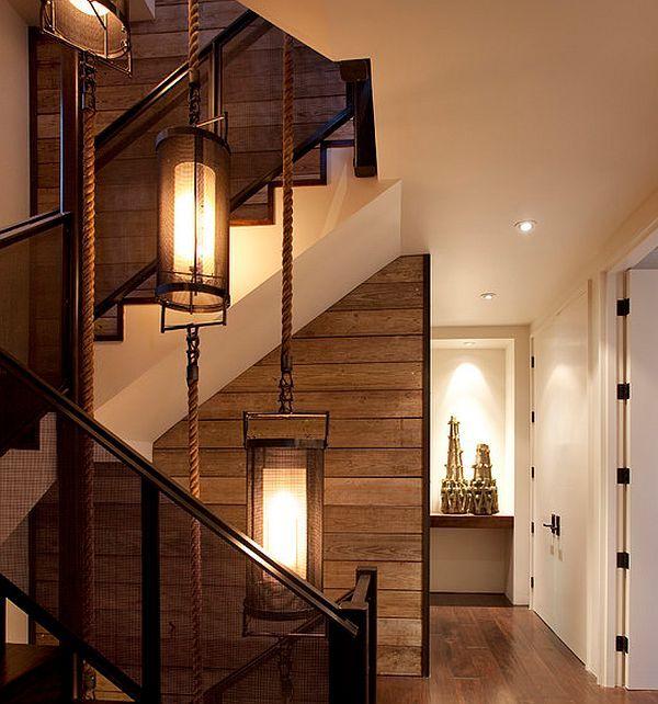 stilvolle wandgestaltung ideen holz platten treppenhaus