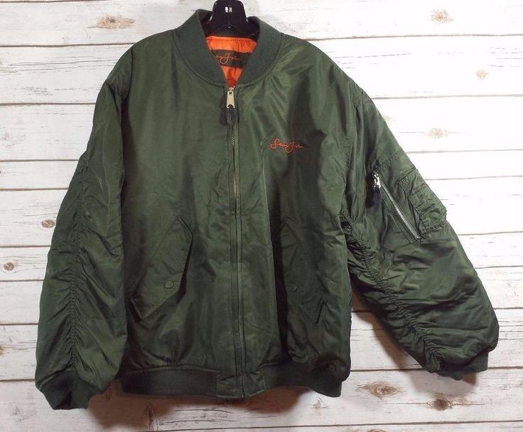 Sean John Olive Green Neon Orange Reversible Bomber Quilted Jacket Men's Size LG #SeanJohn #FlightBomber