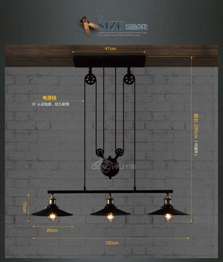 Rh2 Loft Vintage Industrial Retro Iron Pulley Chandelier Pendant Lamp Bar Kitchen Home Decoration E27 Edison Bulb Light Fixtures-inChandeliers from Lights & Lighting on Aliexpress.com | Alibaba Group