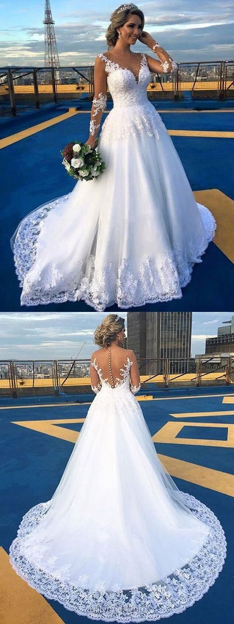 Lace Wedding Dresses Long Sleeve, White Bridal Gowns A-line,Modest Wedding Dress Scoop Neck, 2018 Wedding Dresses Tulle Beautiful