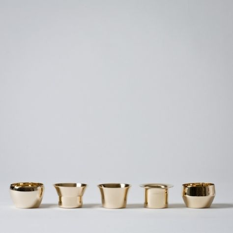 5 brass tea light holders design by Swedish architect firm Claesson Koivisto Rune for Skultuna