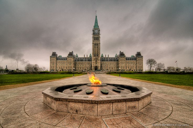 Centennial Flame and Parliament Hill - Ottawa, Ontario, Canada