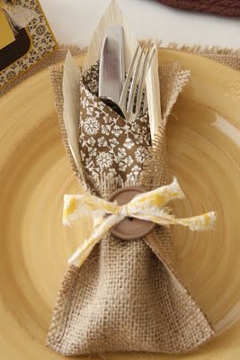 """Burlap """"pocket"""" to hold napkin and flatware...could use various napkin colors throughout the year."""