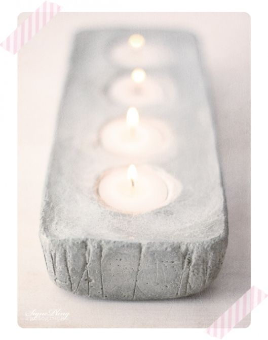 Concrete candle holder, needs concrete dye! I'd love to make this in red!