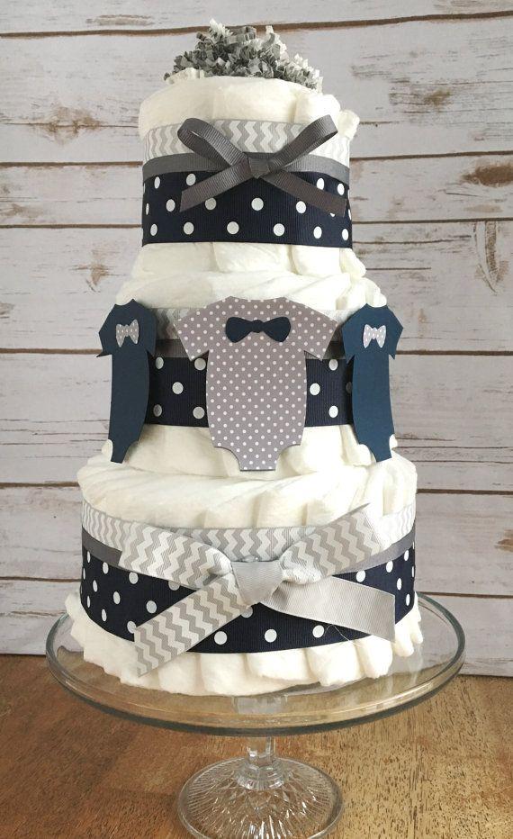 Little Man  Baby Diaper Cake in Navy Blue