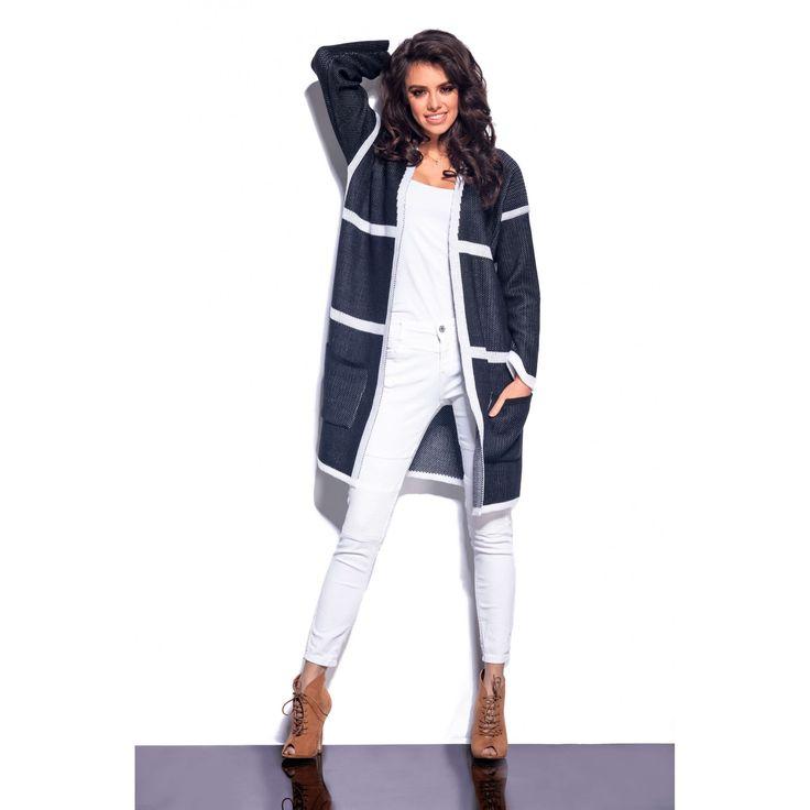 Cardigan de dama in doua culori cu buzunare laterale  #cardiganedama #cardigan #cardigantricotat