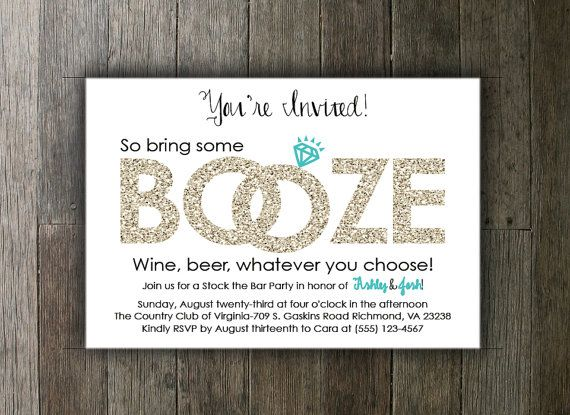 Printable Stock the Bar Invitation  by CarasCustomCreations