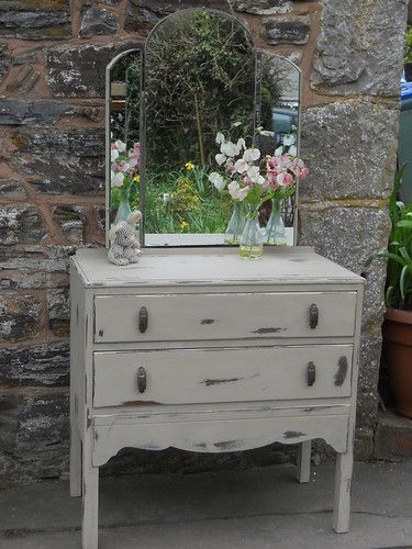 SHABBY CHIC DRESSING TABLE WITH TRI-FOLD,PAINTED IN ANNIE SLOAN COUNTRY GREY | eBay